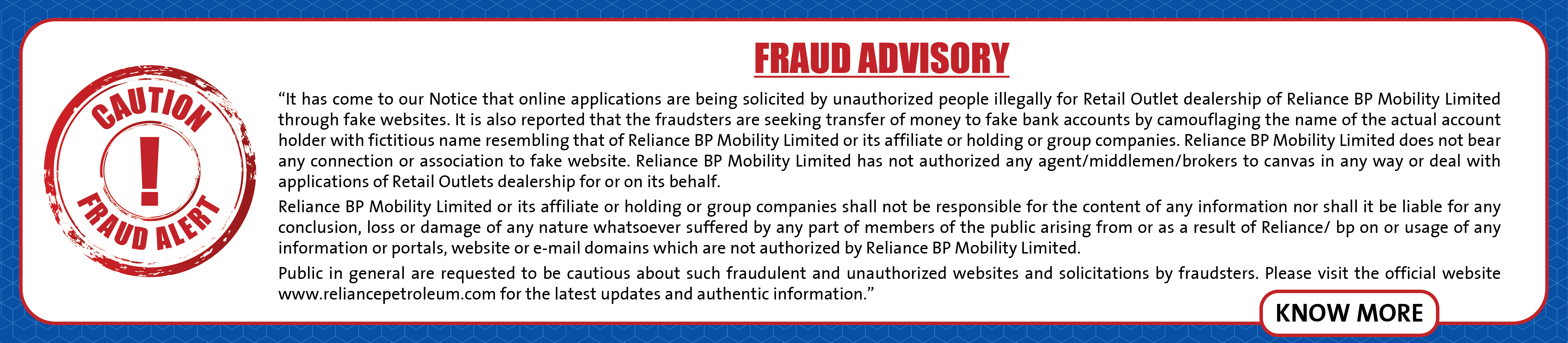 Fraud Advisory